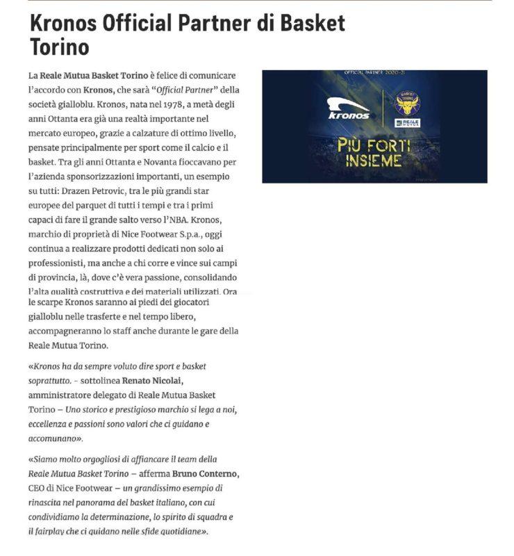 Kronos Official Partner Reale Mutua Basket Torino