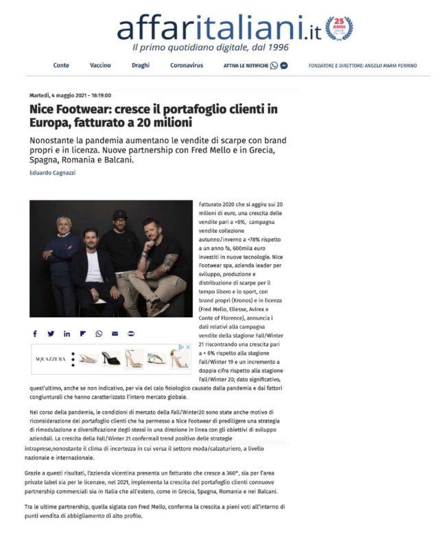 Nice Footwear: cresce il portafoglio clienti in Europa, fatturato a 20 milioni