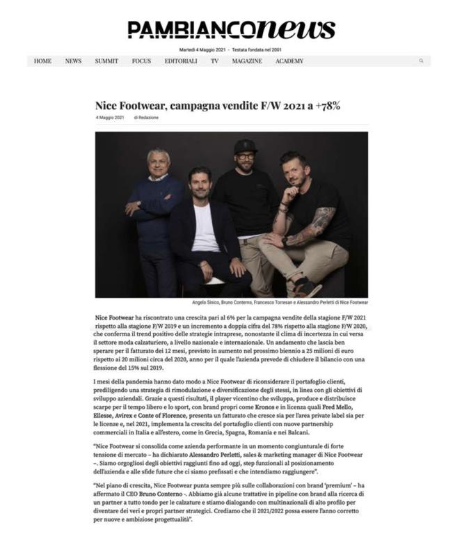 PAMBIANCO NEWS- Nice Footwear, campagna vendite F/W 2021 a +78%