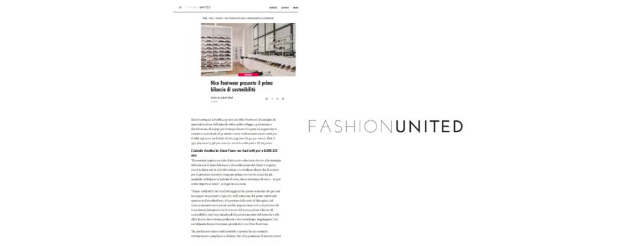 Articolo Fashionunited primo Bilancio di Sostenibilità Nice Footwear