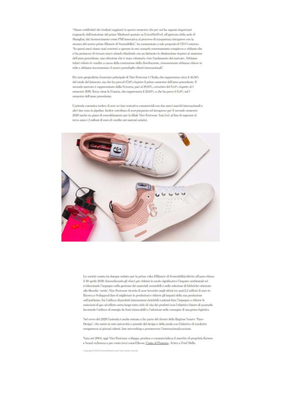 Articolo Fashion Network primo Bilancio di Sostenibilità Nice footwear