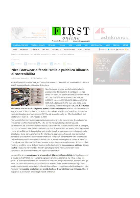 Articolo First Online Info Bilancio di Sostenibilità Nice Footwear