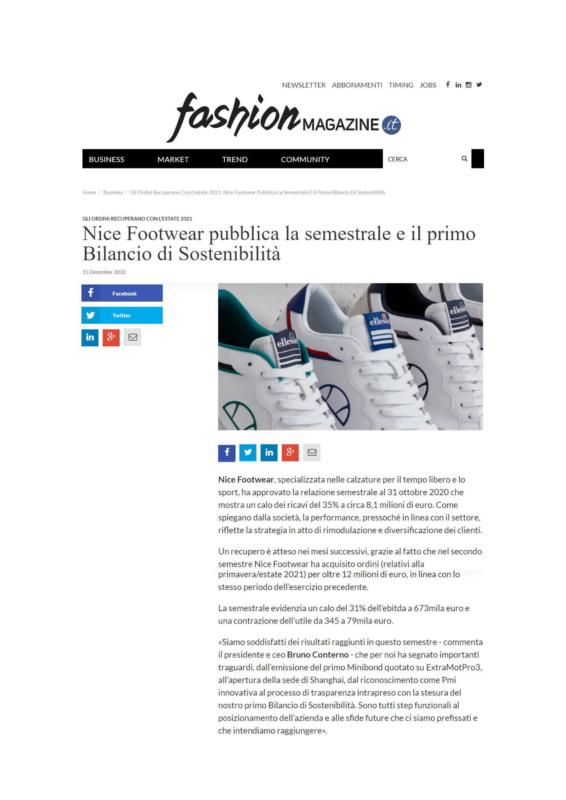 Primo Bilancio di Sostenibilità Nice Footwear