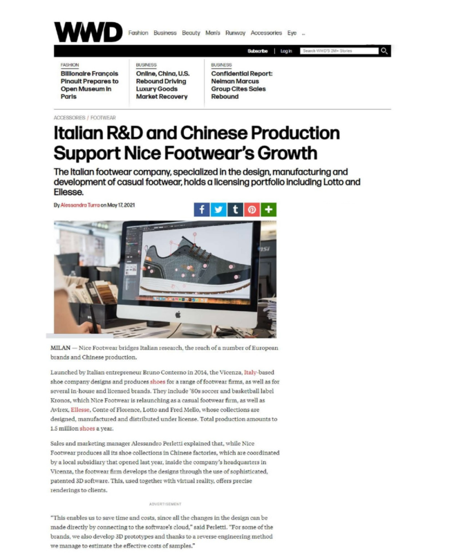 WWD- Italian R&D and Chinese Production Support Nice Footwear's Growth