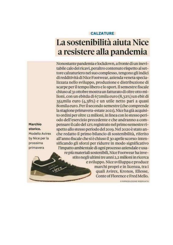 articolo Nice Footwear il sole 24 ore 8.01.2021