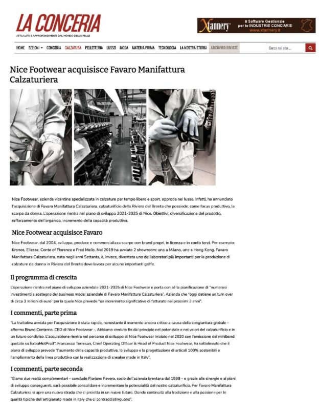Nice Footwear Acquisizione Favaro Manifattura Calzaturiera