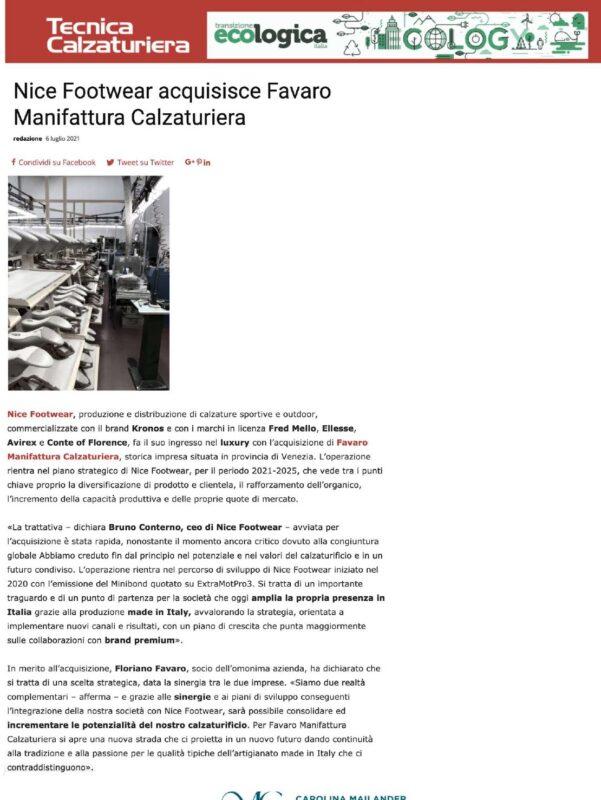 TECNICA CALZATURIERA- Nice Footwear acquisisce Favaro Manifattura Calzaturiera